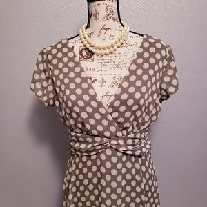 Connected Apparel  cream and green polka dot dress